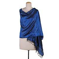 Varanasi silk shawl, 'Azure Ridge' - Handmade Blue Silk Varanasi Shawl from India with Floral