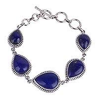Lapis lazuli link bracelet, 'Blue Splendor' (India)