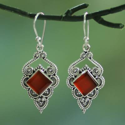 Carnelian dangle earrings, 'Glorious Orange' - Artisan Crafted Carnelian Dangle Earrings from India