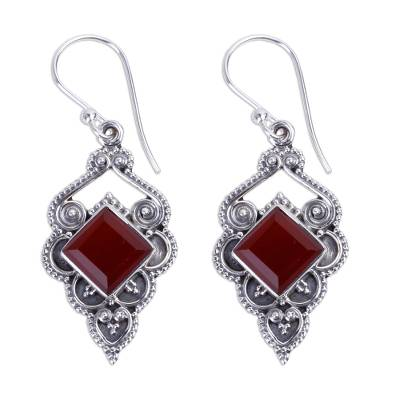 Artisan Crafted Carnelian Dangle Earrings from India