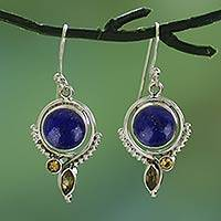 Lapis lazuli and citrine dangle earrings, Glory in Blue