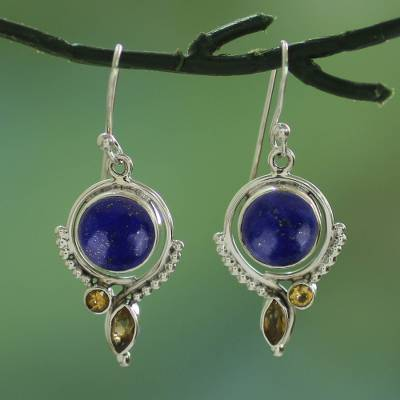 Lapis lazuli and citrine dangle earrings, 'Glory in Blue' - Handmade Lapis Lazuli and Citrine Dangle Earrings from India
