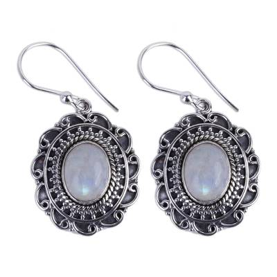 Handmade Rainbow Moonstone and Sterling Silver Earrings