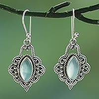 Chalcedony dangle earrings, 'Shimmering Beauty' - Blue Chalcedony and Sterling Silver Dangle Earrings