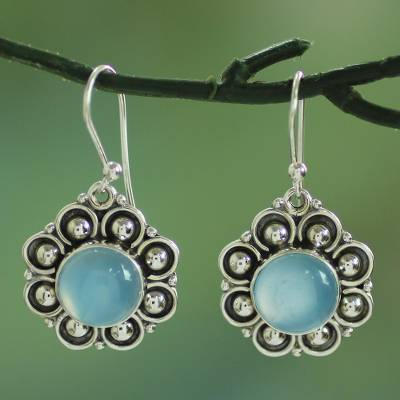 Chalcedony dangle earrings, 'Majestic Sky' - Chalcedony and Sterling Silver Dangle Earrings from India