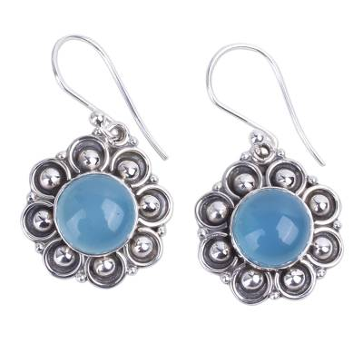 Chalcedony and Sterling Silver Dangle Earrings from India