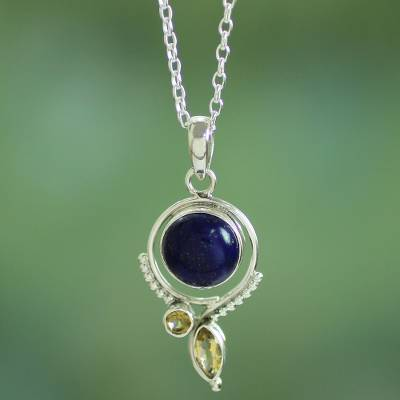 Lapis lazuli and citrine pendant necklace, 'Glory in Blue' - Handcrafted Lapis and Citrine Sterling Silver Necklace