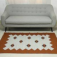 Wool rug, 'Rustic Feast' (4x6) - Wool Woven Rug with Abstract Design (4x6)