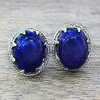 Lapis lazuli stud earrings, 'Morning Mystery' - Handcrafted Lapis Lazuli Stud Earrings in Sterling Silver