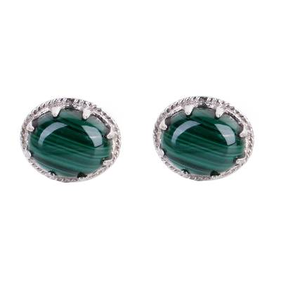 Sterling Silver and Deep Green Malachite Earrings