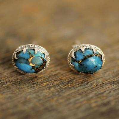 Sterling silver stud earrings, 'Morning in Blue' - Sterling Silver Stud Earrings with Blue Composite Turquoise