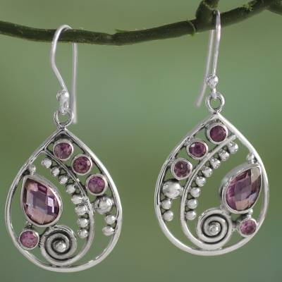 Amethyst dangle earrings, 'Lilac Radiance' - Sterling Silver Amethyst Dangle Earrings from India