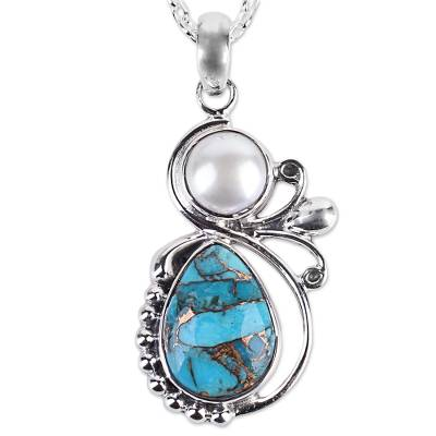 Cultured Pearl and Composite Turquoise Silver 925 Necklace