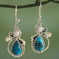 Cultured pearl dangle earrings, 'Joyous Blue Sky' - Silver 925 Cultured Pearl and Composite Turquoise Earrings