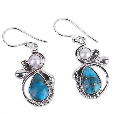 Silver 925 Cultured Pearl and Composite Turquoise Earrings