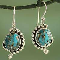 Sterling silver dangle earrings, Blue Indian Paisley