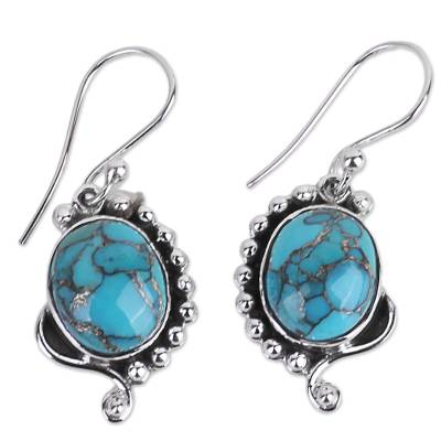 Handcrafted Composite Turquoise Sterling Silver Earrings