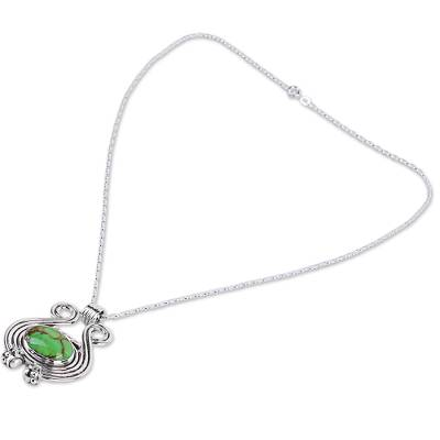 Sterling silver pendant necklace, 'Verdant Desire' - Women's Silver 925 and Green Composite Turquoise Necklace