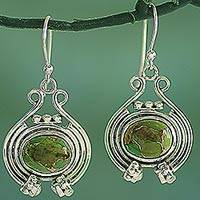 Sterling silver dangle earrings, 'Verdant Desire' - Women's Silver 925 and Green Composite Turquoise Earrings