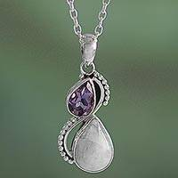 Amethyst and rainbow moonstone pendant necklace, 'Two Teardrops' - Silver and Rainbow Moonstone Necklace with Faceted Amethyst
