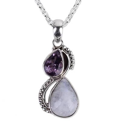 Silver and Rainbow Moonstone Necklace with Faceted Amethyst