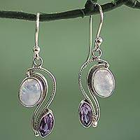 Amethyst and rainbow moonstone dangle earrings, 'Colorful Curves' - India Handcrafted Amethyst and Rainbow Moonstone Earrings