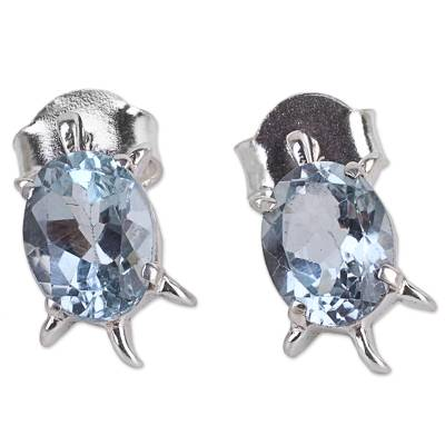 Artisan Jewelry Earrings Sterling Silver and Blue Topaz