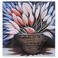 'Revival' - Original Signed Oil Still Life of Lotus Buds in Basket