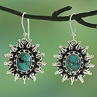 Sterling silver dangle earrings, 'Eternal Radiance' - Silver and Composite Turquoise Artisan Crafted Earrings