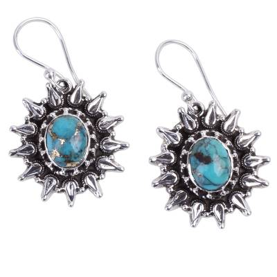 Silver and Composite Turquoise Artisan Crafted Earrings
