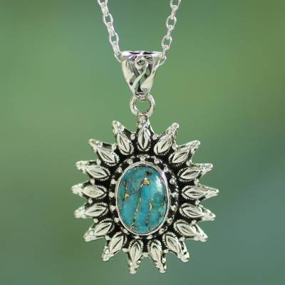 Sterling silver pendant necklace, 'Eternal Radiance' - Silver and Composite Turquoise Artisan Crafted Necklace