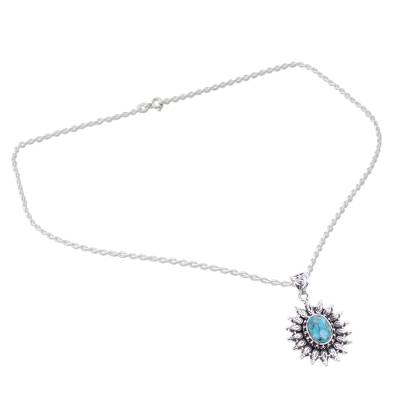 Silver and Composite Turquoise Artisan Crafted Necklace