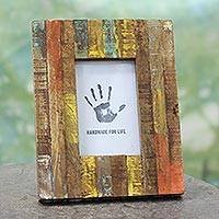 Wood photo frame, 'Making Memories' (4x6) - Painted Reclaimed Mango Wood Photo Frame (4x6)