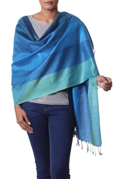 Silk shawl, 'Ocean Glamour' - 100% Silk Woven Shawl in Green and Blue Stripe Pattern