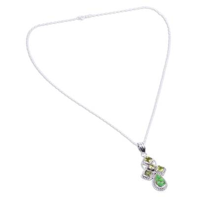 Green Peridot and Composite Turquoise India Silver Necklace