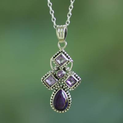 Amethyst pendant necklace, 'Geometric Illusions in Lilac' - Artisan Crafted Geometric Amethyst Pendant Necklace