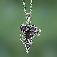 Amethyst pendant necklace, 'Mystic Lilac Jaipur' - Handmade Amethyst and Sterling Silver Pendant Necklace