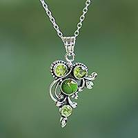 Peridot pendant necklace, 'Mystic Forest Jaipur' - Hand Crafted Peridot and Sterling Silver Pendant Necklace