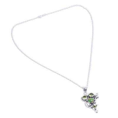 Hand Crafted Peridot and Sterling Silver Pendant Necklace