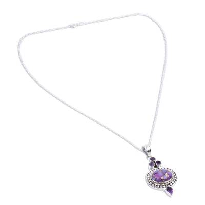 Novica Amethyst Purple Composite Turquoise Pendant Necklace from India