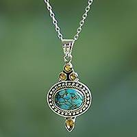 Citrine pendant necklace, 'Luminous Blue Sky' - Citrine and Composite Turquoise Pendant Necklace