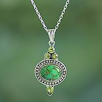 Peridot pendant necklace, 'Luminous Green Sky' - Peridot and Composite Turquoise Pendant Necklace