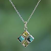 Citrine and composite turquoise pendant necklace,