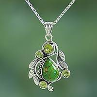 Peridot pendant necklace, 'Misty Green Forest' - Handmade Composite Turquoise and Peridot Necklace