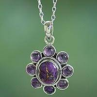 Amethyst flower necklace, 'Deep Purple Blossom' - Composite Turquoise Artisan Crafted Necklace with Amethyst