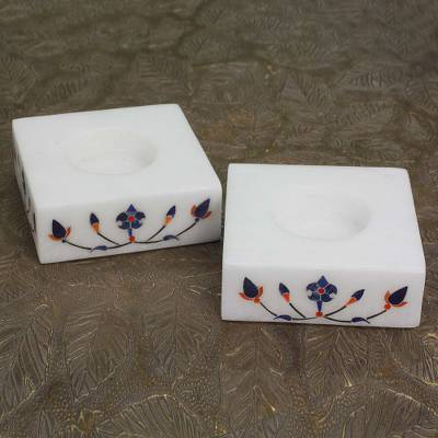 Marble tealight holders, 'Blooming Buds in Blue' (pair) - Square Marble Tealight Holder with Blue Blooming Buds (Pair)