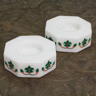 Marble tealight holders, 'Floral Alliance in Green' (pair) - Octagon Marble Tealight Holder with Green Buds (Pair)