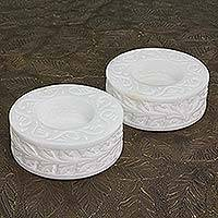 Marble tealight holders, 'White Beauty' (pair) - Round White Marble Tealight Holder with Engraved Vine (Pair)