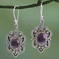 Amethyst dangle earrings, 'Intricate Embrace' - Handcrafted Sterling Silver Earrings with Amethyst