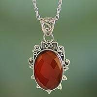Carnelian pendant necklace, 'Glow of Embers' - India Handcrafted Sterling Silver Necklace with Carnelian